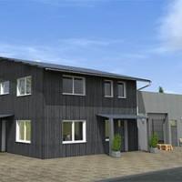 Visualisierung Büro mit Lagerhalle